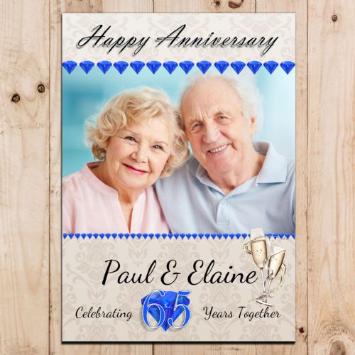 Personalised Sapphire 65th Wedding Anniversary Party PHOTO Banner Poster N73